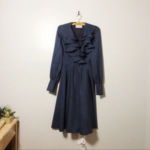 Vintage Polka Dot Ruffle Wrap Dress
